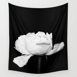 White Peony Black Background Wall Tapestry