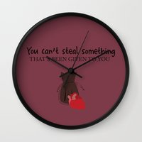 ouat Wall Clocks featuring Outlaw Queen Quote (OUAT) by CLM Design