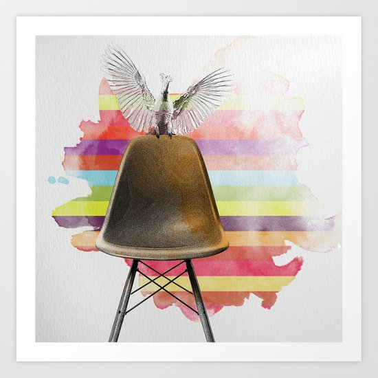 cockatoo on eames chair rainbow colours Art Print