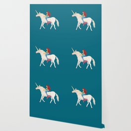 Red Haired Mermaid Rides the Unicorn Wallpaper
