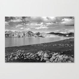 Pangong Tso Lake in Ladakh - Indian Himalayas Canvas Print