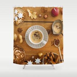 Christmas decoration on wood Shower Curtain