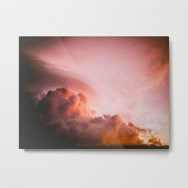 Beautiful Pink Orange Fluffy Sunset Clouds Cotton Candy Texture Sky Metal Print