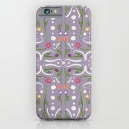 Light Purple Hand Painted Bohemian Flower Design iPhone Case