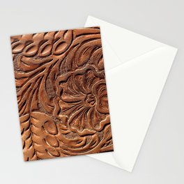 Vintage Worn Tooled Leather Stationery Cards