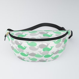 Whales Nautical Mint Green Gray Fanny Pack