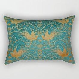 """Turquoise and Gold Paradise Birds"" Rectangular Pillow"