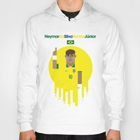 neymar Hoodies featuring Neymar Brazil Illustration Print by Gary  Ralphs Illustrations