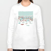kitchen Long Sleeve T-shirts featuring Sea Recollection by Efi Tolia