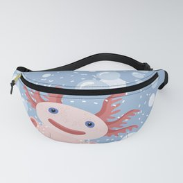 Cute Axolotl and The Bubbles Fanny Pack