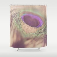peacock feather Shower Curtains featuring Peacock Feather by Jessica Torres Photography