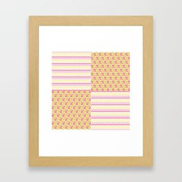 Pink n Green Country Chevron and Floral Checkered Framed Art Print