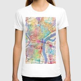 Philadelphia Pennsylvania City Street Map T-shirt