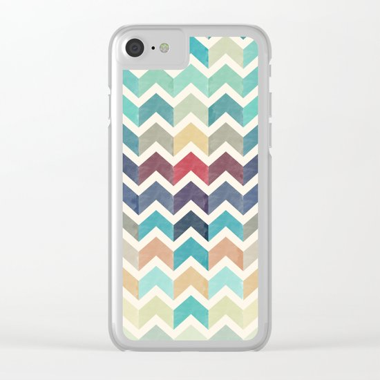 Watercolor Chevron Pattern Clear iPhone Case