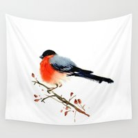 birdy Wall Tapestries featuring Red birdy by Ivanushka Tzepesh