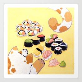 Sushi+cats=yes Art Print