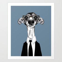 Greyhound in suit Art Print