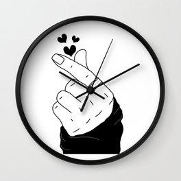 K-pop finger heart hand sign korean boy with ring black hearts Wall Clock