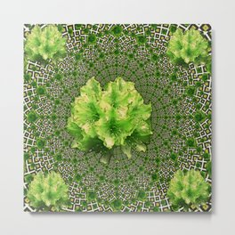 Lime Flowers & Green Irish Roses Optical Art Metal Print