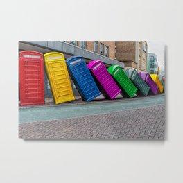 Multicolour Angle phone booth Metal Print