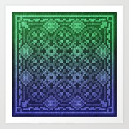 Pixel Patterns Blue Green Art Print