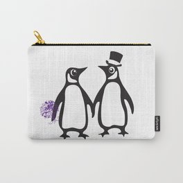 Wedding Penguins, animal lovers, wedding gift, animal illustration, zoo gift Carry-All Pouch