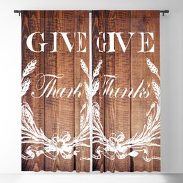 rustic western country barn wood farmhouse wheat wreath give thanks Blackout Curtain