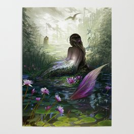 Little mermaid - Lonley siren watching kissing couple Poster