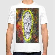 NEON SKULL White Mens Fitted Tee MEDIUM