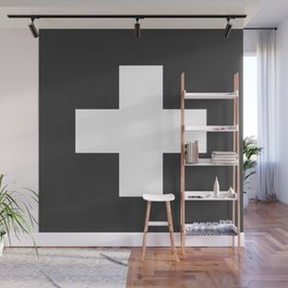 Swiss Cross Charcoal Wall Mural