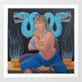 The Priestess and the Plumed Serpent Art Print