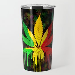 Marijuana Leaf Rasta Colors Dripping Paint Travel Mug
