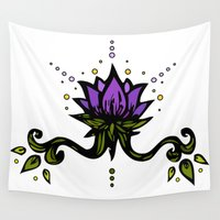 lotus flower Wall Tapestries featuring Lotus by SkinnyGinny