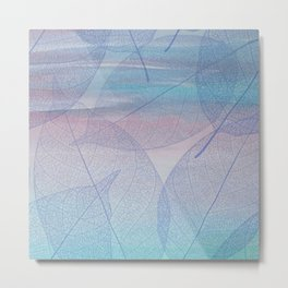 Painterly Pastel Leaves Abstract Metal Print
