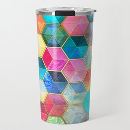 Crystal Bohemian Honeycomb Cubes - colorful hexagon pattern Travel Mug