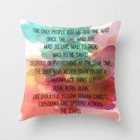 kerouac Throw Pillows featuring Kerouac Watercolour: by NomadicArt