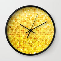 gold glitter Wall Clocks featuring Disco Gold - Glitter by Paula Belle Flores