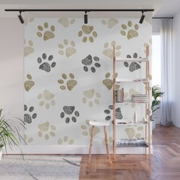 Doodle grey and gold paw print seamless fabric design repeated pattern background Wall Mural