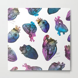 Colourful Anatomical Hearts Metal Print