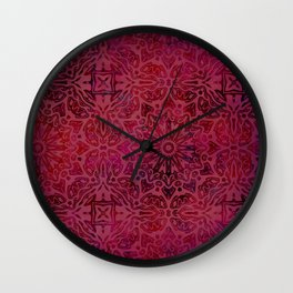 Retro Red textured oriental pattern Wall Clock