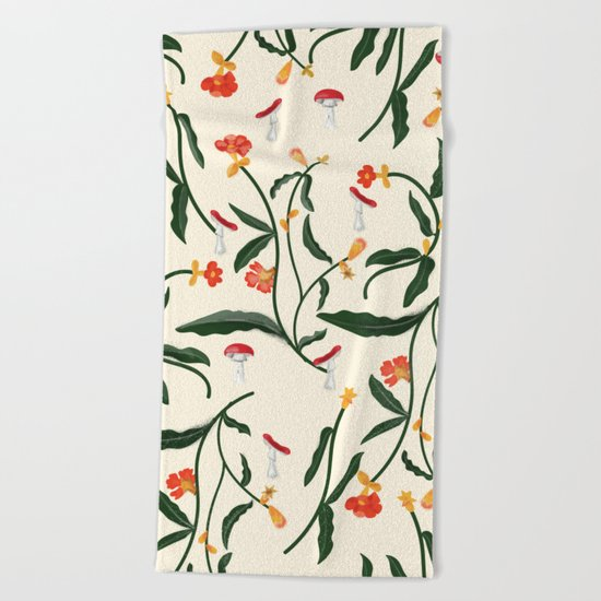 Mushrooms and Flowers Hanging Out Beach Towel