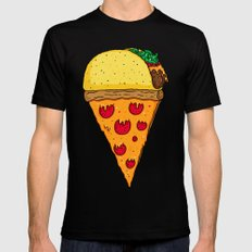 Taco Pizza Cone Black Mens Fitted Tee LARGE