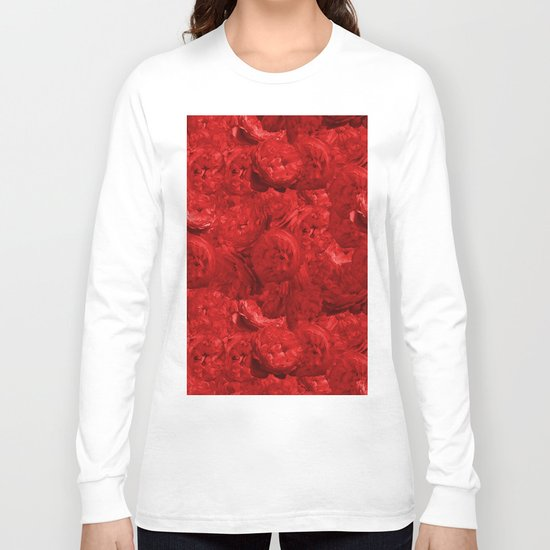 Bed of fire red roses - Rose floral Flowers Long Sleeve T-shirt