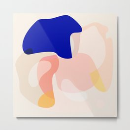 Modern Abstract Peach Pink Navy Blue Yellow Pattern Metal Print