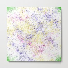 Neon Splatter in White Metal Print