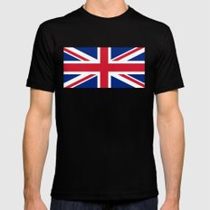 UK FLAG - The Union Jack Authentic color and 1:2 scale  Mens Fitted Tee X-LARGE Black