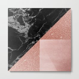 Black Marble Rose Gold Metal Print