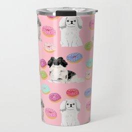 Pekingese dog breed dog pattern pet portraits donut food dog breeds pet friendly Travel Mug