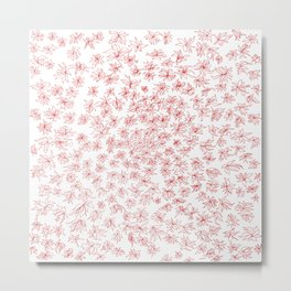 floral, red on white Metal Print