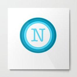 Blue letter N Metal Print